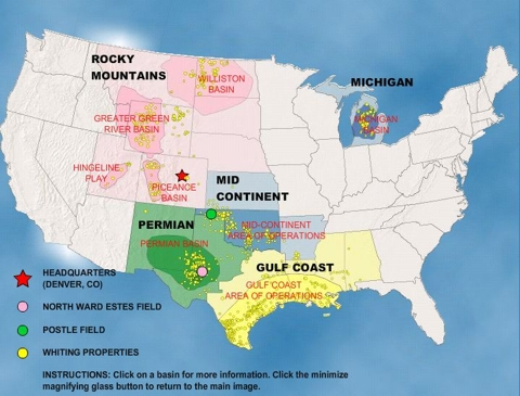 Whiting Petroleum Asset Map