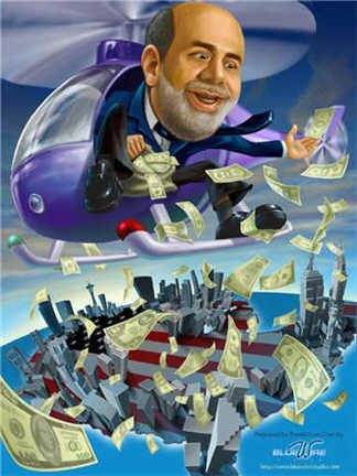 Ben Bernanke in a helicopter throwing out cash having a ball