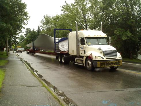Trans Canada Wind Turbine Blade Trailor Transport -- Kibby Mountain, Maine