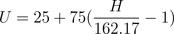 UMM  value from Index U = 25+75(\frac{H}{162.17} -1)