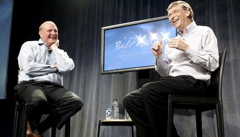 Microsoft CEO Steve Ballmer (left) and Chairman of the Board Bill Gates (right)