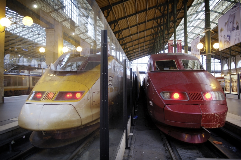 Thalys and Eurostar at the Gare du Nord station, Paris