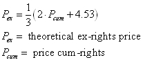 formula for ex-rights price