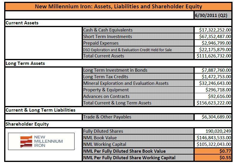 NML Selected Balance Sheet