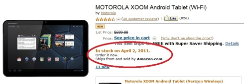 xoom out of stock