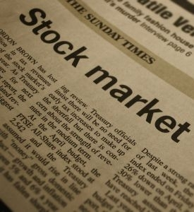 Stock market newspaper headline