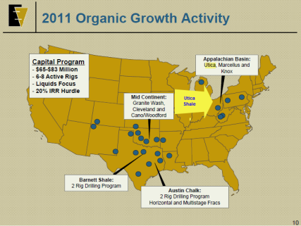 2011 Organic Growth Projects and Utica Shale Location