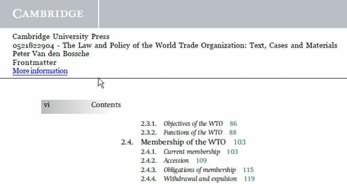 Law and Policy of the WTO -  Table of Contents
