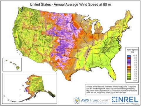 Wind speeds across the United States