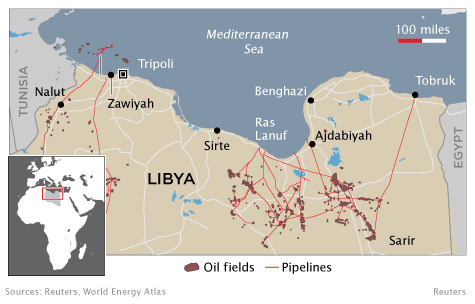 Libyan Oilfields and Pipelines