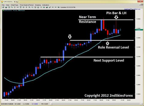 pin bar forex price action role reversal level 2ndskiesforex.com dec 20th