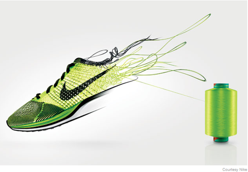 futuristic picture showing nike shoe and thread