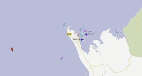 Port-Gentil, Gabon with ships