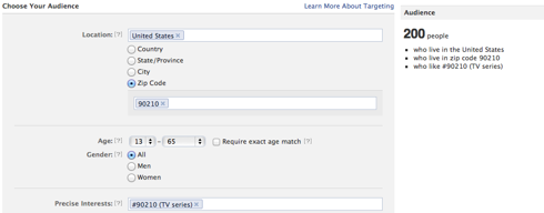 An example of the narrow targeting advertisers can use on Facebook.