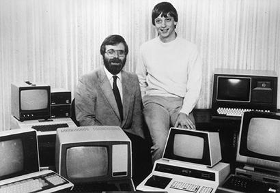Getting started: Microsoft co-founders Paul Allen (left) and Bill Gates