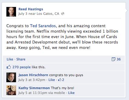 Reed Hastings 1 Billion Hours streamed in June