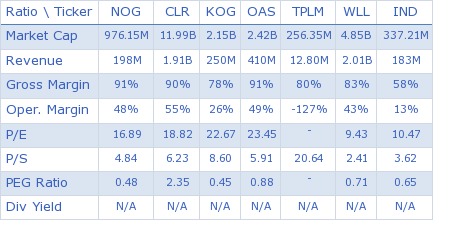 Northern Oil and Gas, Inc. key ratio comparison with direct competitors