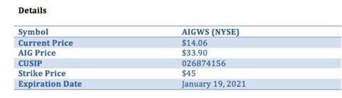 AIG Warrant Details