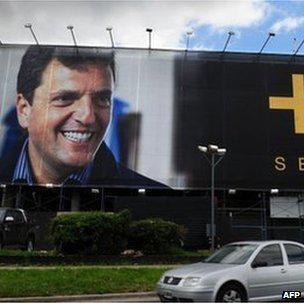 A billboard depicting Argentine opposition candidate Sergio Massa