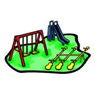 Swings, a slide and seesaw playground equipment