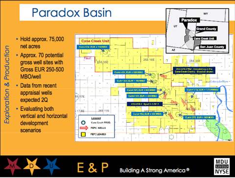 Old Slide: Paradox Basin Assets from 4/16/12