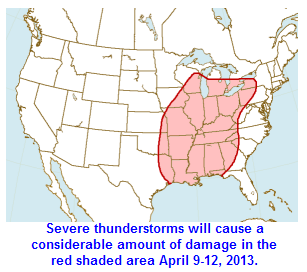 Severe thunderstorms are most likely in the red shaded area.