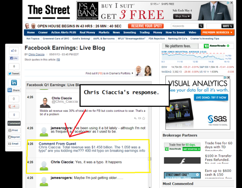 The only response Chris Ciacca of TheStreet.com gave for the damage he had caused.