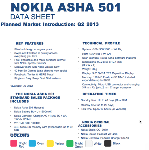 Asha 501 fact sheet