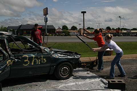 bashing a car
