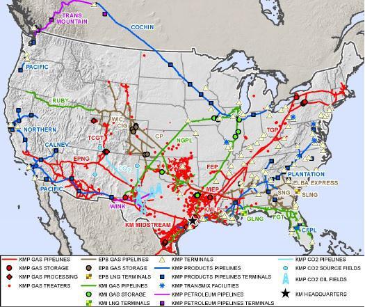 Kinder Morgan Asset Map