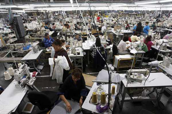 Photograph inside American Apparel Factory