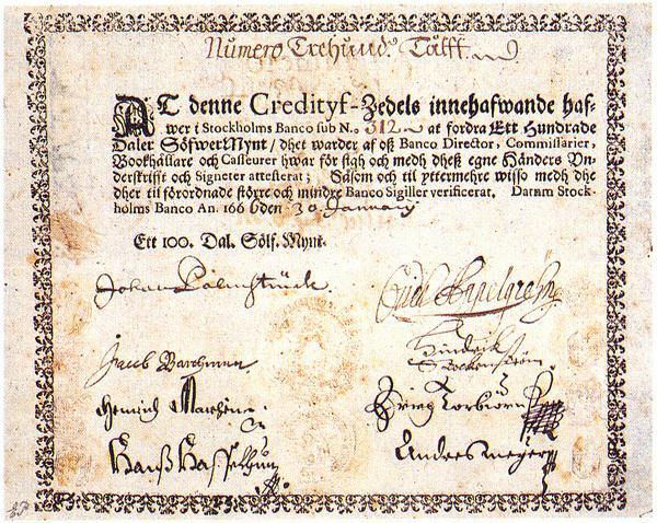 StockholmsBanco-100 daler silver banknote
