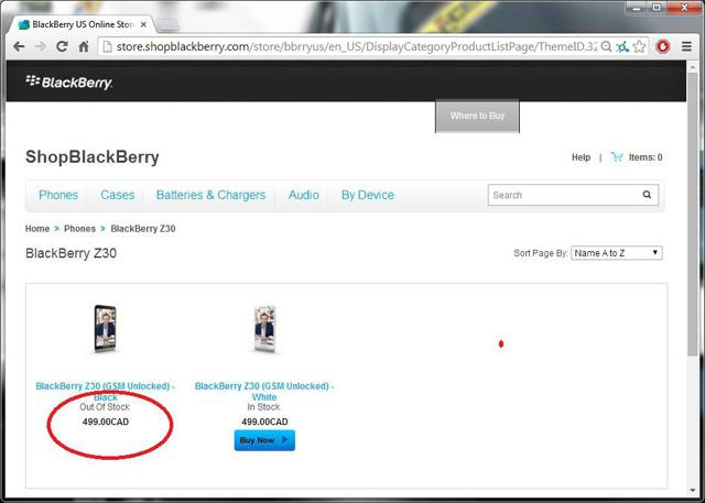 Page from Canadian Version of ShopBlackBerry.com