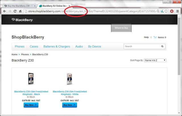 EU/ UK version of ShopBlackBerry.com