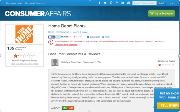 135 Complaints on Home Depot- Overall Rating is Lowest Possible Score