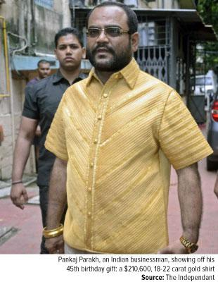 Ft-Pankaj Parakh, an Indian businessman showing off his 45th birthday present gift a $210,600 18 carat gold shirt