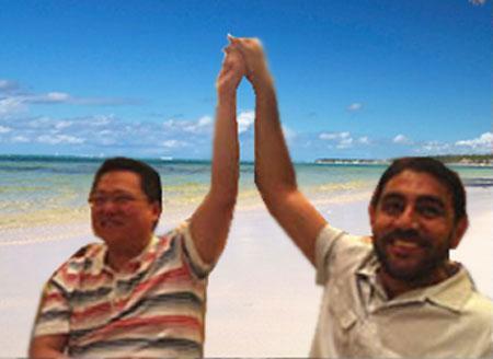 NQ Mobile Omar Khan and Henry Lin Yu Walking On Beach