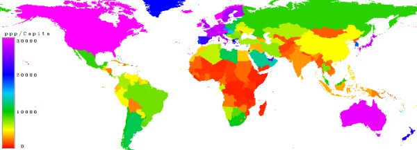 Purchasing Power Parity (NYSE:<a href='http://seekingalpha.com/symbol/PPP' title='Primero Mining Corp. New Ordinary Shares'>PPP</a>). Countries with a low purchasing power parity are marked in red, moderate is in green, high values in blue and very high in magenta.
