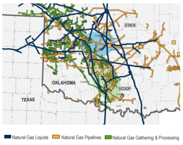 OKS pipelines in oklahoma, a map