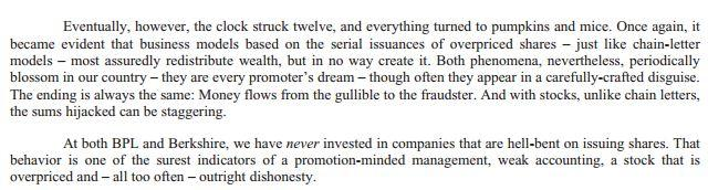 BRK Buffett quote on share issuances