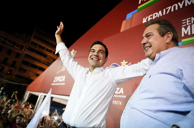 Prime Minister Tsipras with his political ally Kammenos
