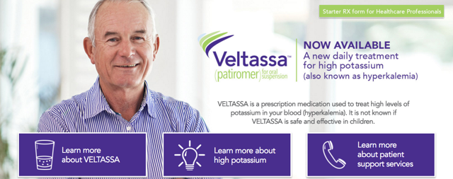 Veltassa banner image from the Veltassa website