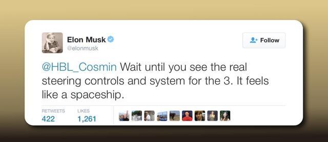 Elon Musk tweet promising exotic Model 3 operator experience