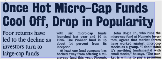 microcap drop in popularity