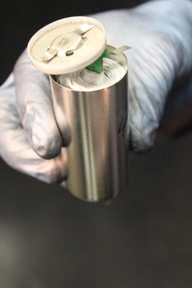 Cylindrical battery (32650 size) prior to assembly, containing AGC CSPG.