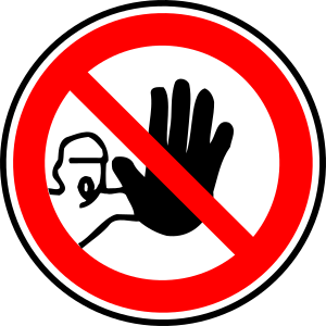 halt, picture indicating stop, a man has his hand out stop