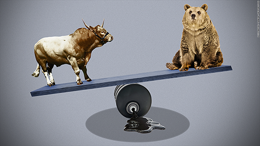 Bull and Bear on opposite of seesawing scale, perched on an oil barrel, next oil stock to explode