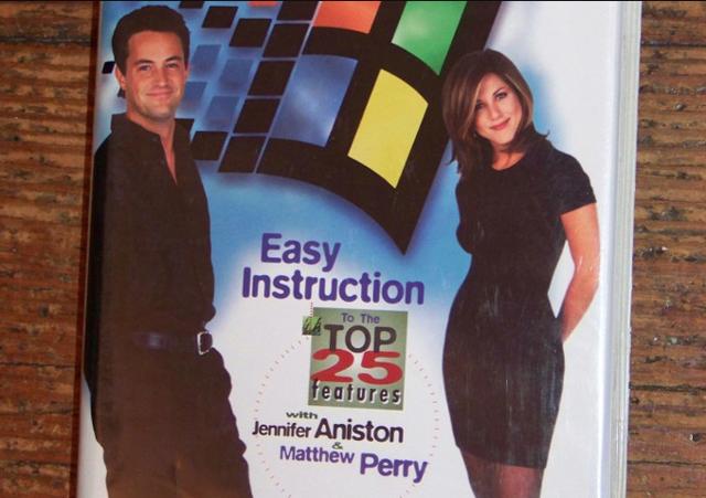 Microsoft 95 instruction video featuring Friends stars. Screen capture via Bing.