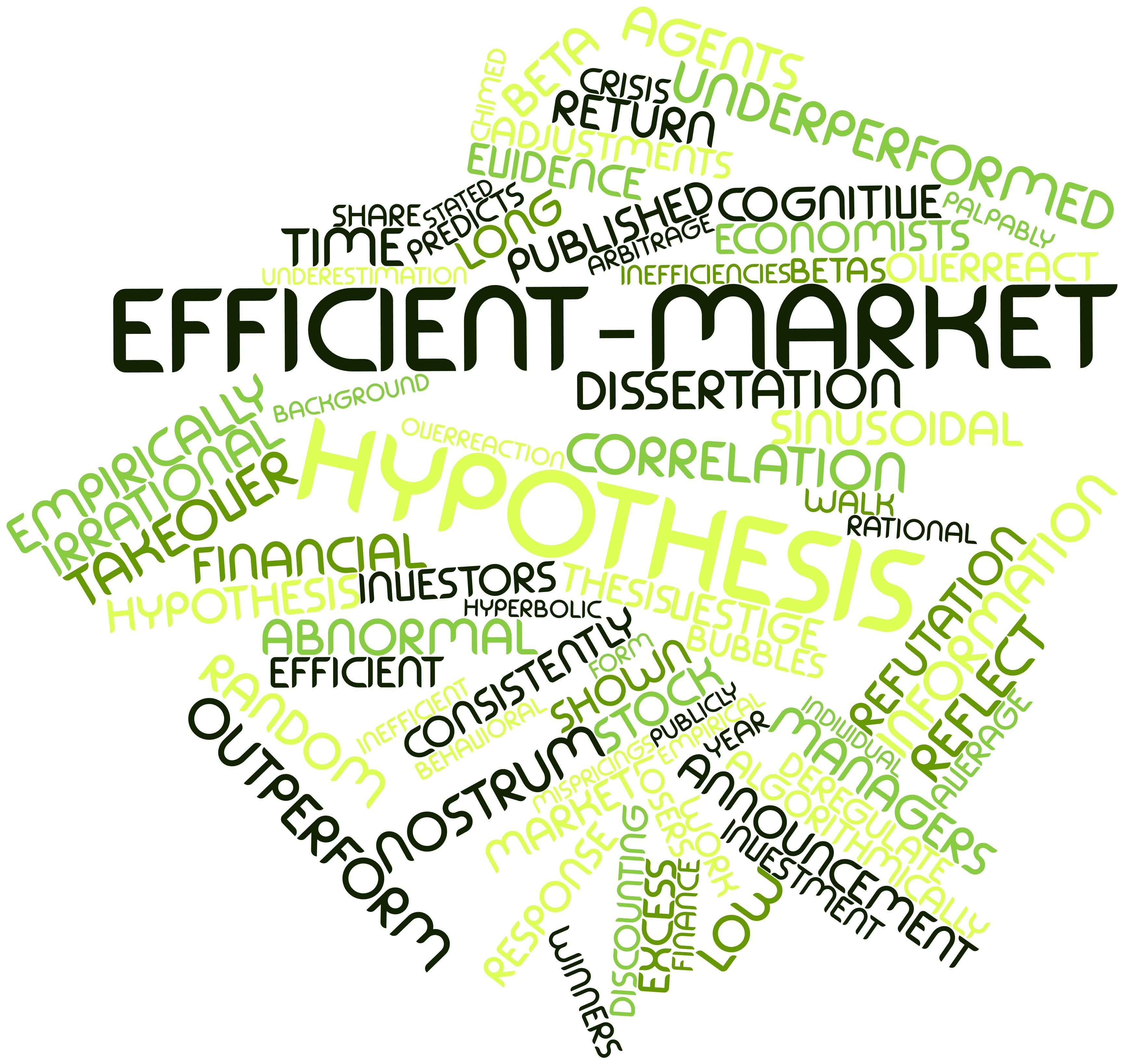 from the efficient market hypothesis to The efficient market hypothesis (and it has always been just a hypothesis) is highly controversial, especially after the stockmarket runup in the late 1990s there is a significant amount of research that shows that markets vary in their efficiency, and that this depends on market structure and organization.