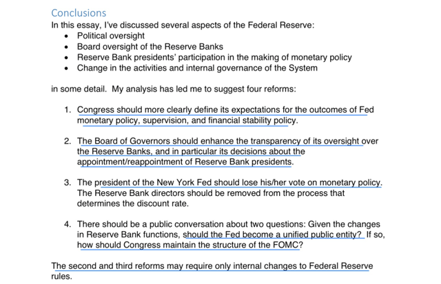 the central bank or the fed essay The issue of central bank independence has been the subject of  policy is  never discussed at meetings between the fed chairman and the.